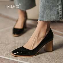 Женская обувь на высоком каблуке с квадратным носком; Кожаные