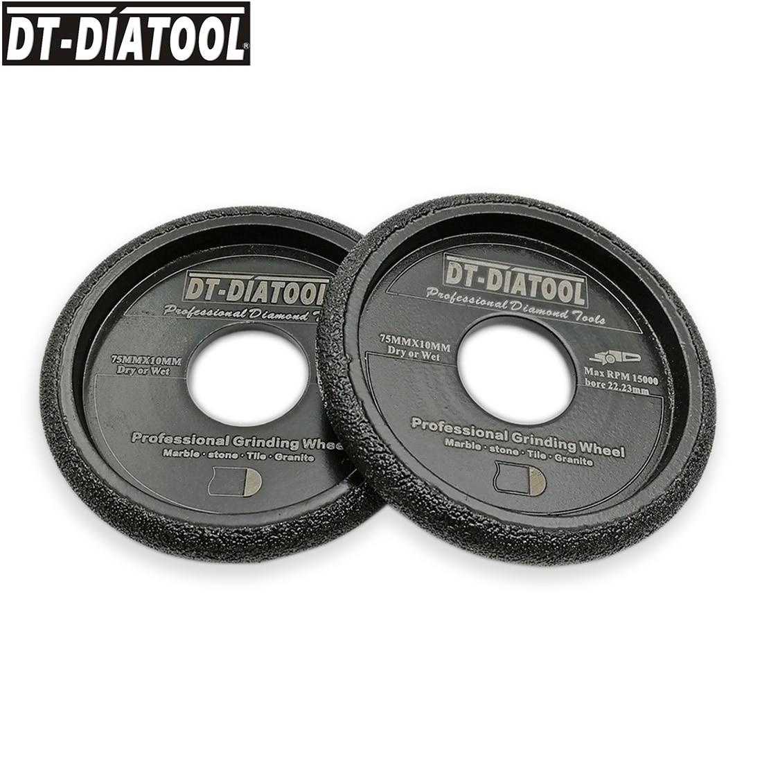 DT-DIATOOL 2pcs 75x10mm Vacuum Brazed Diamond Grinding Convex Wheel Grinding Disc Marble Granite Quartz Artificial Stone Profile