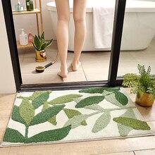 Honlaker Green Leaves Flocking Bath Mat Non slip Absorbent Microfiber Bathroom Rug Home Entrance Door Mat Super Soft Bath Carpet