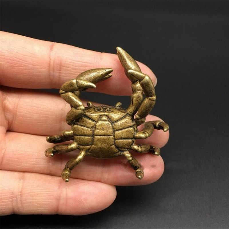 Miedziany posąg kolekcjonerski chiński mosiężny rzeźbiony krab zwierzęcy osiem Party pieniądze wykwintne małe posągi