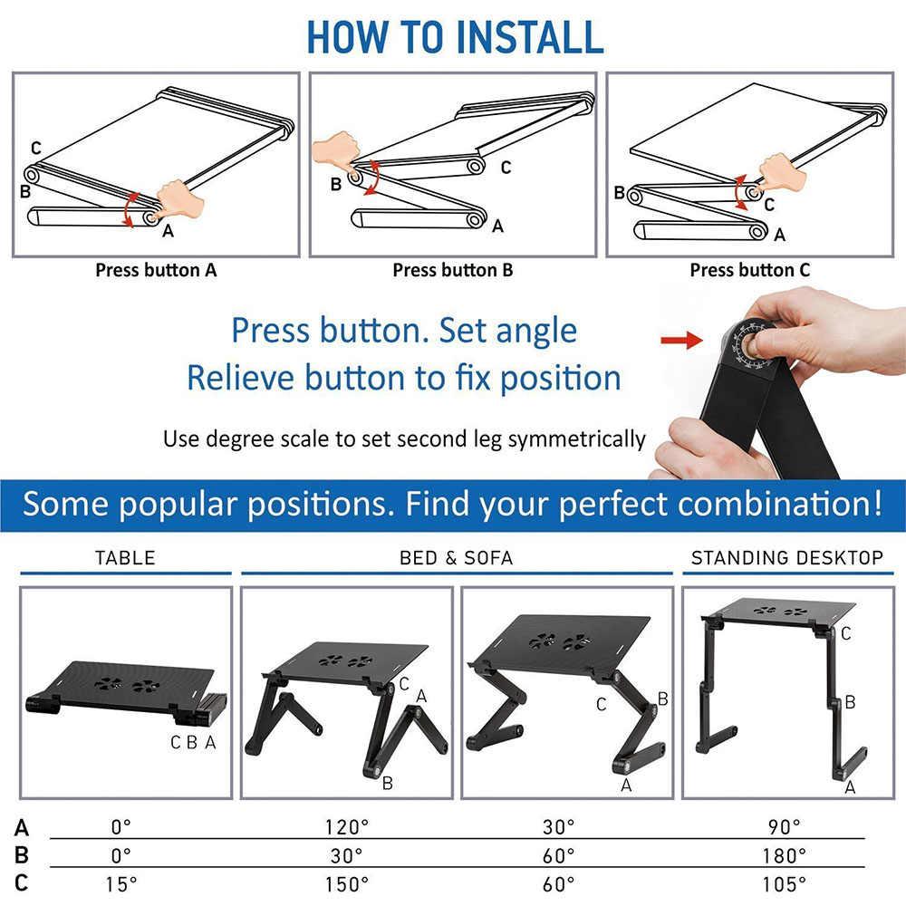 Два вентилятора, столы для ноутбуков, переносные, для ноутбуков, ноутбуков, ПК, складной стол, подставка, поднос для кровати, регулируемый, складной стол