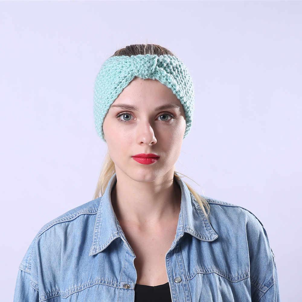 النساء الشعر الكرة الحياكة عقال مرونة اليدوية القوس تصميم HairBand الشتاء الصوف دفئا الأذن محبوك عقال عمامة الشعر