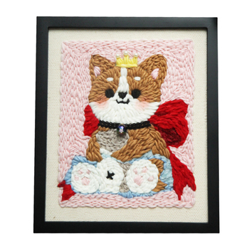 DIY Knitting Wool Rug Hooking Kit Handcraft Woolen Embroidery 25 x 30cm Wooden Frame Poke Needle Photo Frame - A Dog with Crown