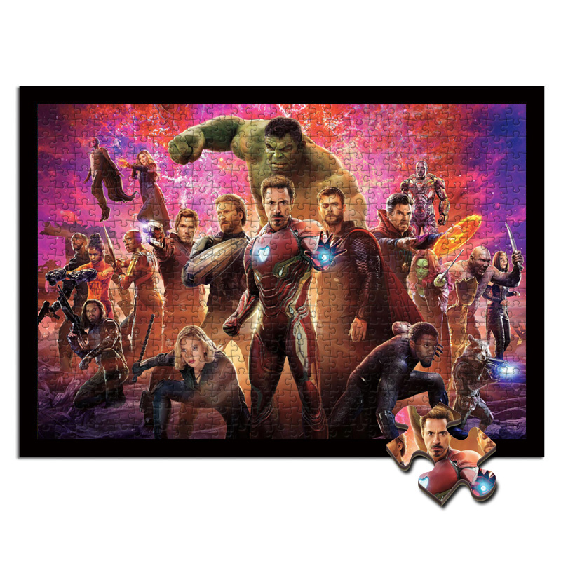 The Avengers Wooden Jigsaw Puzzle 1000 Pieces Thor Iron Man Thanos Spider Man Loki Wrap Kids Educational Toys  Puzzles