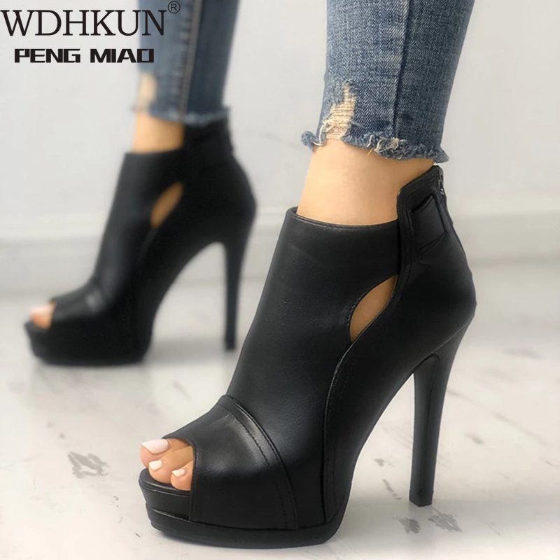 11cm New Women Pumps Spring Fall Office Shoes Breathable Hollow Out Square Heel Boots Woman Platform Heels Party Wedding Shoes