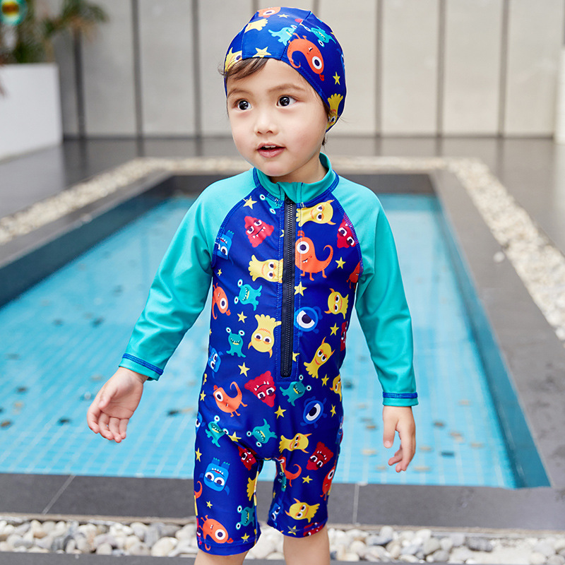2019 Summer New Style Children 1-4-7-Year-Old KID'S Swimwear Cartoon Animation One-piece Quick-Dry Tour Bathing Suit