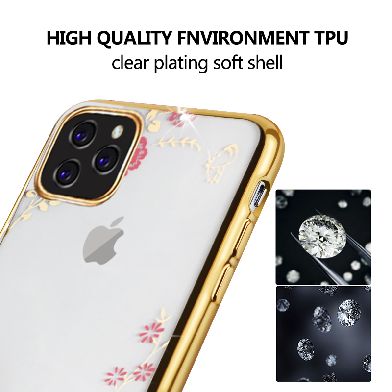 MOESOE Glitter Diamond Flower Case for iPhone 11/11 Pro/11 Pro Max 3