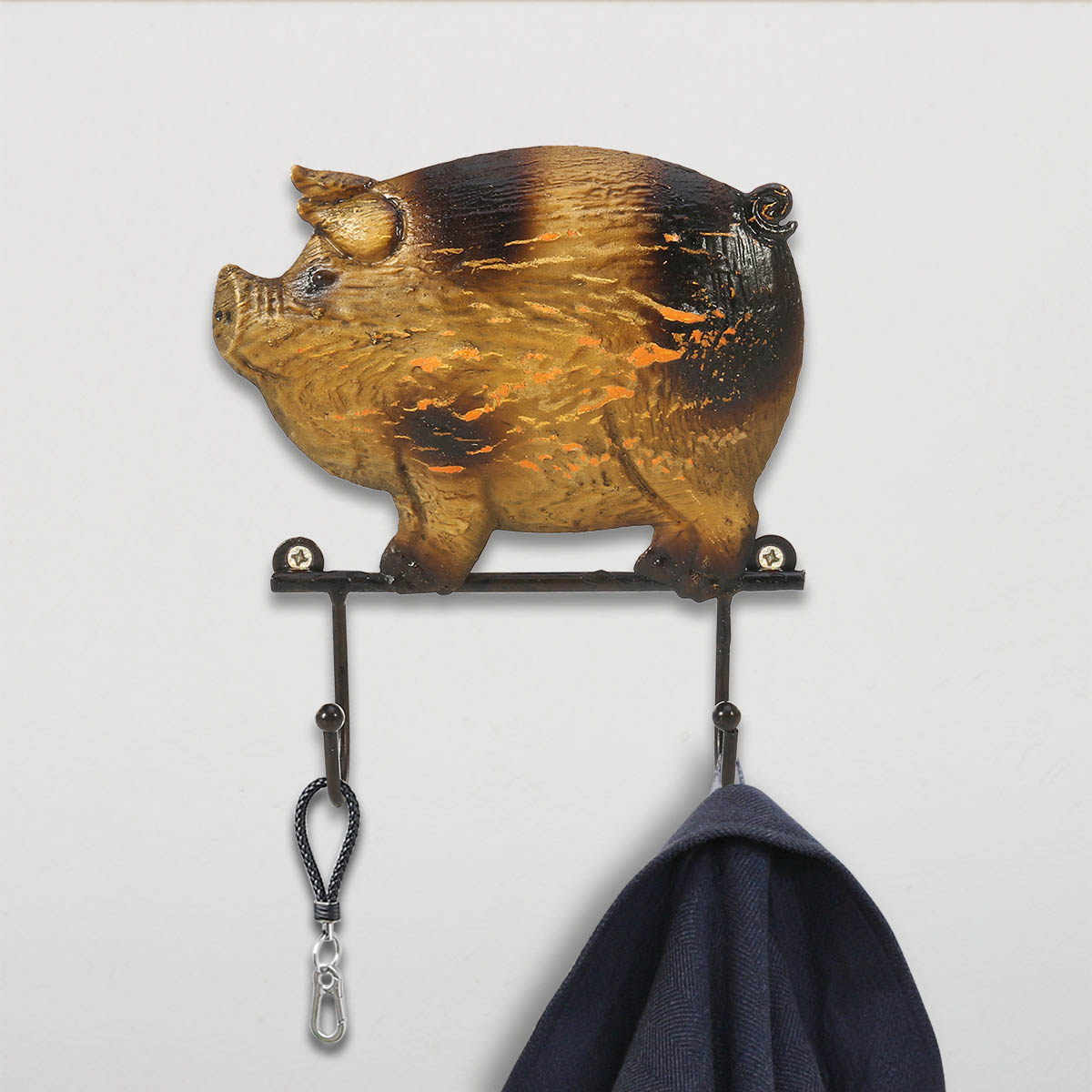 Practical Wall Hook Rustic Cast Iron Coat Hat Wall Hooks Vintage Design With 2 Hooks Decorative 2019 Pig Year Home Decor