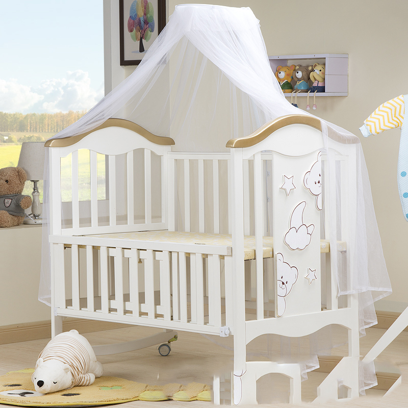 Baby Bed Solid Wood European Multifunctional Baby BB Cradle Neonatal Movable Children Stitching Bed