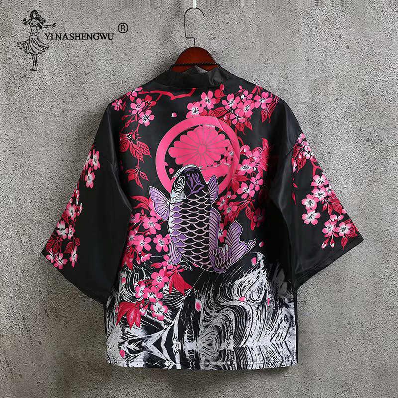 Kimonos Cardigan Men Yukata Women Japanese Kimono Traditional Unisex Harajuku Beach Loose Thin Shirt Sun-protective Shirts Coat