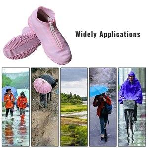 Image 2 - Cubierta de zapato reutilizable para hombre y mujer, cubierta impermeable con cremallera, zapatos de mujer para la lluvia, impermeable, 2020