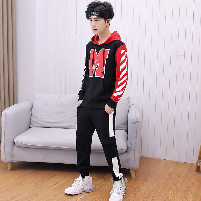 2019 Men Spring And Autumn Leisure Sports Suit Hooded Pullover Printed Trend Hoodie Long Sleeve Trousers Skinny Dacron