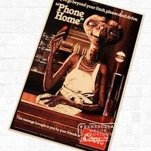 Ciencia ficción E.T. Película de Propaganda Vintage cartel Retro de Kraft decorativo DIY pared lienzo adhesivo hogar Bar arte decoración de carteles
