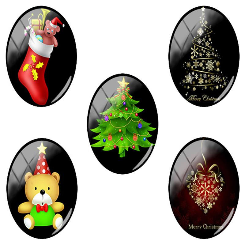 TAFREE NEW <font><b>18x25mm</b></font> Christmas Stockings bear Snow Art Picture <font><b>Oval</b></font> Glass <font><b>Cabochon</b></font> Flatback Dome Jewelry Finding Pendant base CM48 image