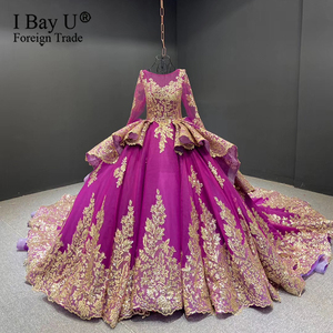 2020 Luxury Sparkling Gold Sequined Lace Long Sleeve Wedding Dress Sexy Ball Gown 2 Layers Train Robe de mariée Burgundy