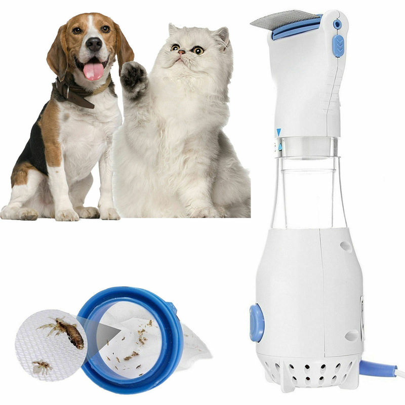 Electric Head Lice Removal Physical Head Lice Treatment Electrical Fleas Brush Comb Pet Cleaning Tool + 4 Capture Filter