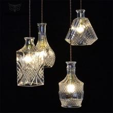 Nordic LED Pendant Lights Modern Carved Crystal Glass Bottle Retro Hanging Lamp Restaurant Loft Cafe Lamps Suspension