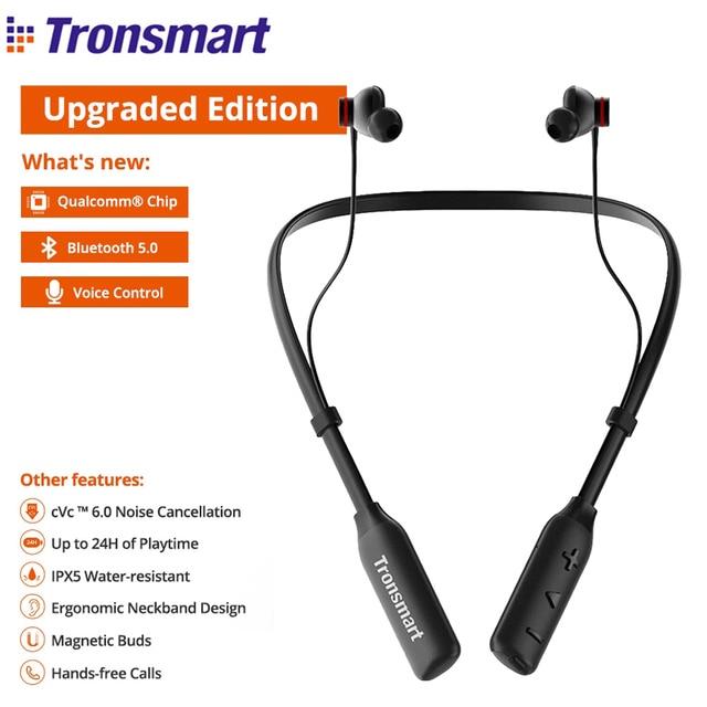 [Чип Qualcomm] обновленные беспроводные наушники Tronsmart S2 Plus Bluetooth 5,0, голосовое управление, глубокие басы, cVc 6,0, 24 часа воспроизведения