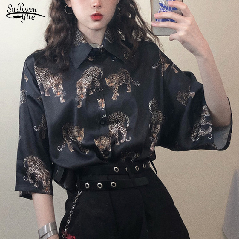 New Summer Blouse Women Harajuku Style Leopard Shirt Women Short Sleeve Plus Size Loose Streetwear Ladies Tops Clothes 8798 50