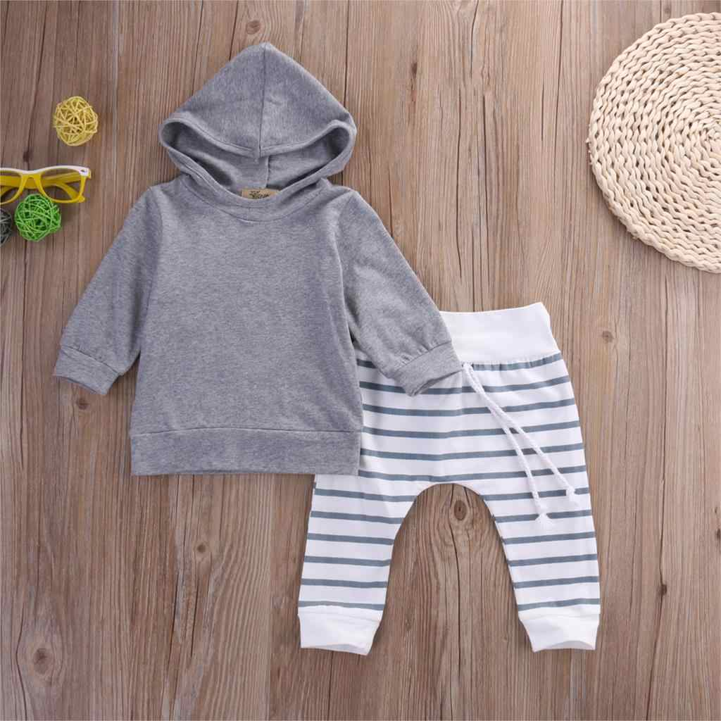 LOOZYKIT 2020 Autumn Simple Warm 2PCS Baby Gray Clothing 0-18M Newborn Boys & Girls Hooded Tops Sweatshirt Pants Sports Outfit