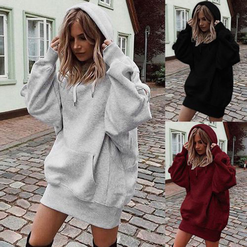 New Fashion Ladies' Clothing Solid Color Hooded Loose Long-sleeved Thick Sweatshirt For Women