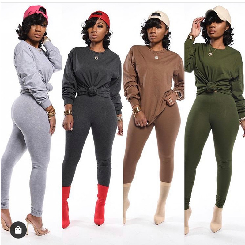 two piece set women 2 piece set stacked leggings clothes for women outfits stacked pants tracksuit female fall clothes 2020