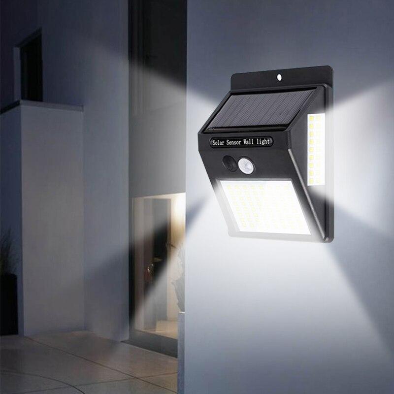 100LED Solar Wall Light Sensor Auto Motion Waterproof Outdoor Garden Street Public Road Night Bulb Flashlight Wall Light 3 Side