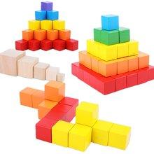 Montessori bebê brinquedos de madeira para crianças jenga colorido bloco de construção empilhamento jogo balanceamento criativo educacional aprendizagem cubo