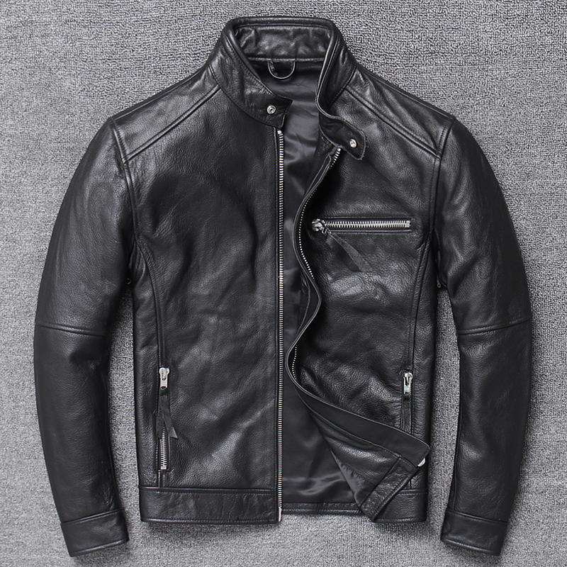 Genuine Leather Jacket Men Clothes 2020 Cowhide Coat Motorcycle Real Cow Leather Jackets Spring Autumn Coats 094Hei KJ3192