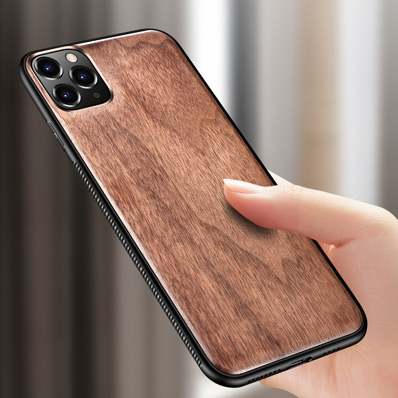 Real Wooden Hard Shockproof Back Cover Case with Wood Lanyard for iPhone 12