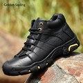 Зимние мужские ботинки золотистого цвета из натуральной кожи; Мужские кроссовки с высоким берцем; Горные треккинговые походные тактически...