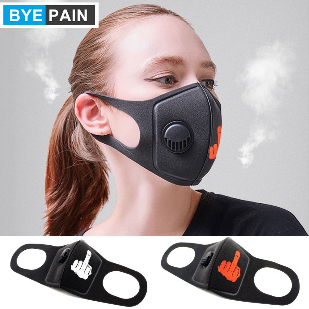 1pcs BYEPAIN Respiratory Dust Mask Impolite Middle Finger Men&Women Anti-fog Haze Pm2.5 Pollen 3D Cropped Breathable Valve Mask