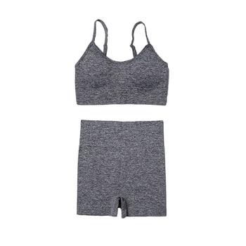 4PCS Seamles Sport Set Women Purple Two 2 Piece Crop Top T-shirt Bra Legging Sportsuit Workout Outfit Fitness Wear Yoga Gym Sets 10