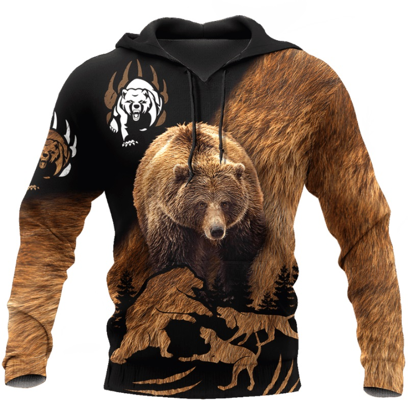 Bear hunting camo 3D Print Hoodies for men / women Harajuku Fashion Hooded Sweatshirt Autumn Casual hoodie sudadera hombre DLL58