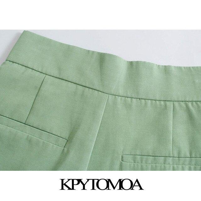 KPYTOMOA Women 2021 Chic Fashion Side Pockets Linen Bermuda Shorts Vintage High Waist Zipper Fly Female Short Pants Mujer 5