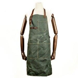 Роскошный вощеный холщовый фартук A019, большой карман из восковой ткани с инструментами, фартук шеф-повара для барбекю, мужской водонепрониц...