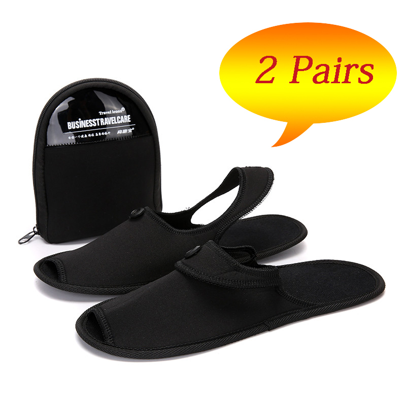 2Pairs Summer Home Slippers Men Folding Flip Flops Antislip Slides Indoor Slippers Couple Shoes Hotel Trip Mules Pantoufle Homme