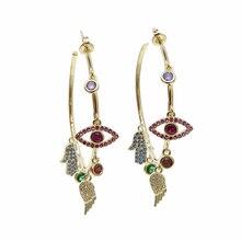 Colorato cz pavimentato di lucky charms orecchino ad anello dellocchio diabolico ala della mano di hamsa splendida stunning europeo delle donne degli orecchini
