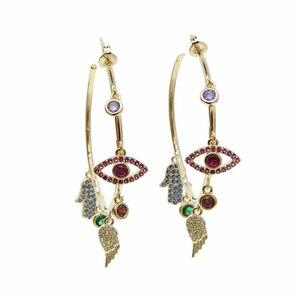 Image 1 - Colorato cz pavimentato di lucky charms orecchino ad anello dellocchio diabolico ala della mano di hamsa splendida stunning europeo delle donne degli orecchini