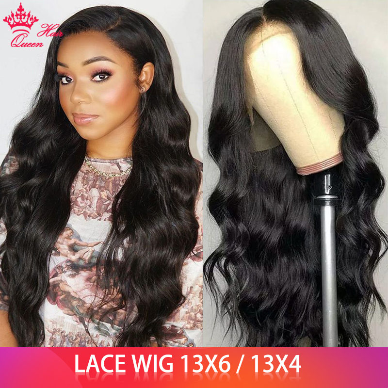Queen Hair Lace Front Human Hair Wigs 13x6 HD Transparent Body Wave Pre-plucked 100% Human Hair Natural Black Wigs For Women