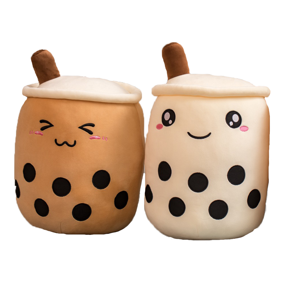 Small Cute Adorable Cartoon Bubble Tea Cup Shaped Pillow With Suction Tubes Real-life Stuffed Soft Back Cushion Funny Boba Food