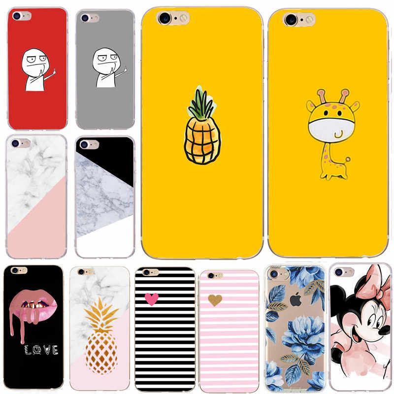Case Cover Voor iphone 6 6S 7 8 Plus XS X SE 5 S 5 5S Soft Cartoon Silicone Bloem Marmer leuke Cartoon Back Telefoon Gevallen Schelpen