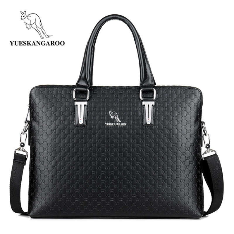 YUESKANGAROO Classics Leather Men's Handbags Business Shoulder Bags Laptop Briefcases Casual Crossbody Bags Man Messenger Bag