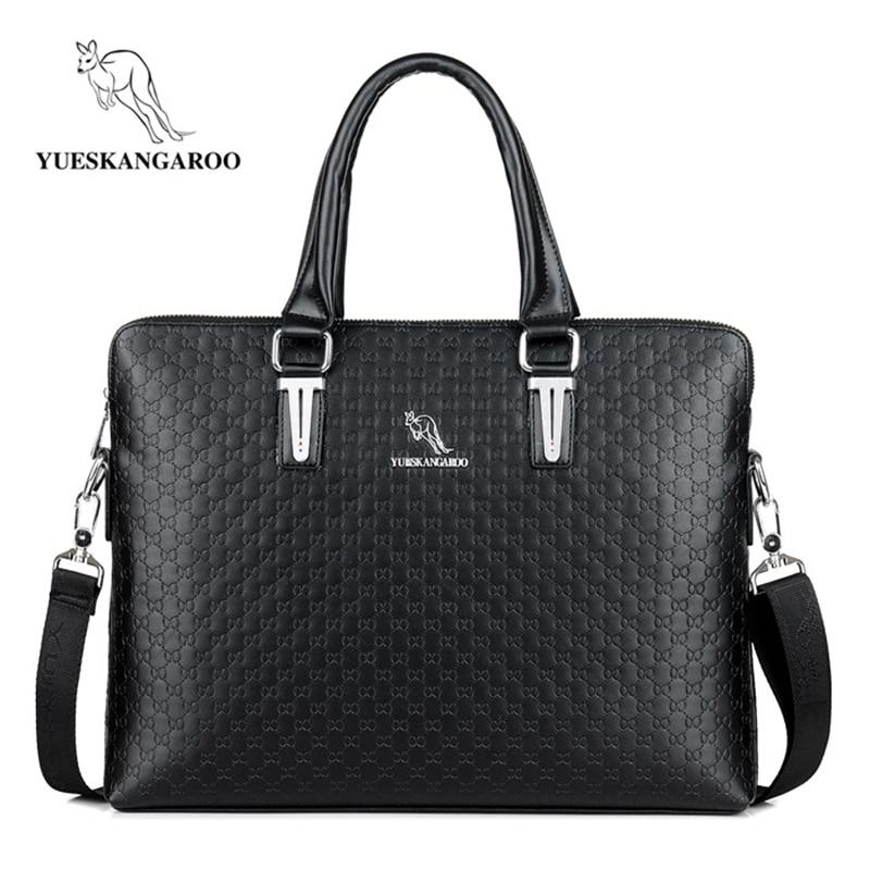 YUESKANGAROO Classics Leather Men's Handbags Business Shoulder Bags Laptop Briefcases Casual Crossbody Bags Man Messenger Bag