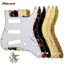 Pleroo Guitar Parts - For US three reverse-mounted 65 single-coil Scratch Plate Strat with 11 Srew Hole for ST SSS  pickups gold prewired 1 ply 11 holes sss mirror pickguard 3 single coil pickups with magnets for stratocaster guitar