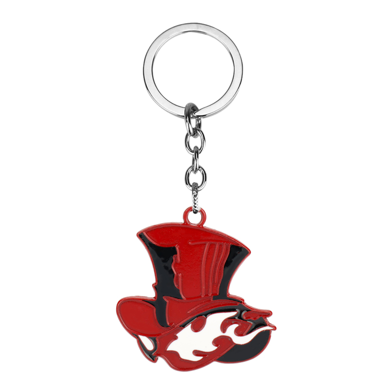 Game Jewelry Anime Persona 5 Red Hat Shape Pendant Keychain Metal Alloy Keyring Choker Souvenir Gift For Women Men Party image