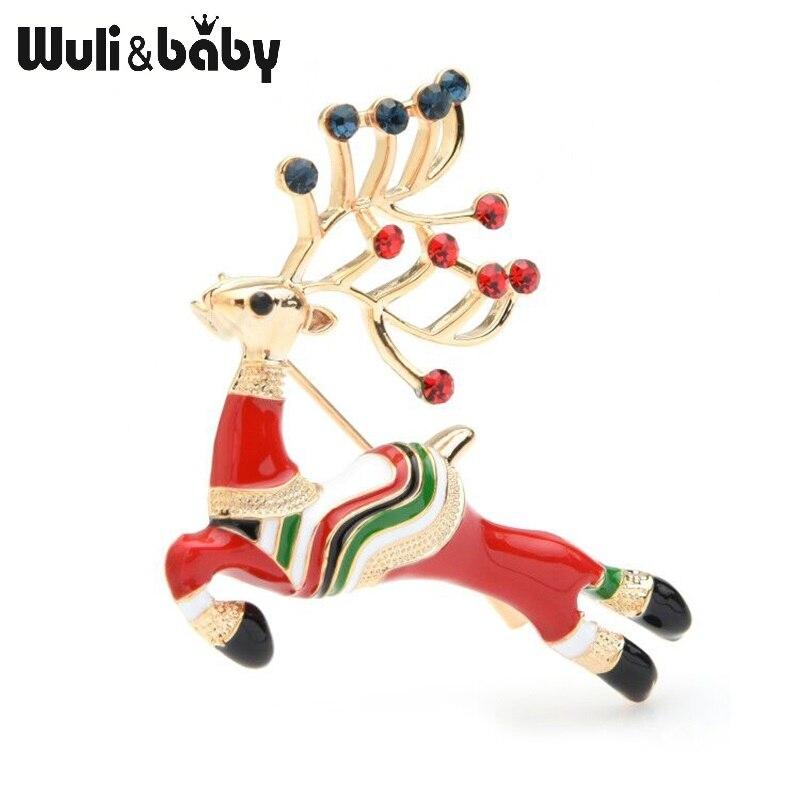 Wuli&baby Enamel Chritmas Deer Brooch Pins Gift Lucky Elk Animal Brooches Jewelry Accessories