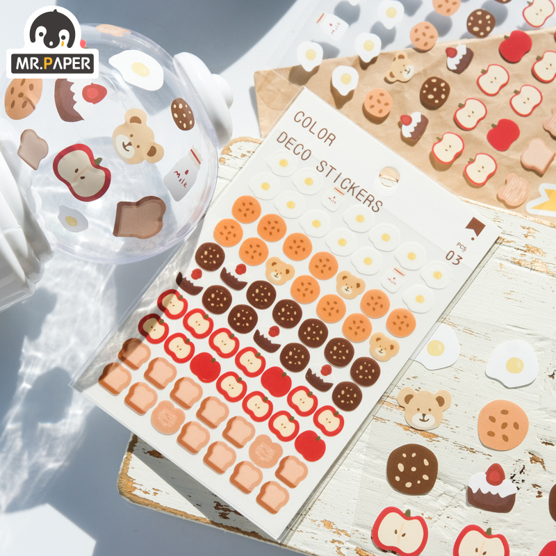 Mr.paper 6 Designs 3Pcs/lot Cute Bear Daily Deco Washi Diary Stickers Scrapbooking Planner Bullet Journal Doodling Stationery