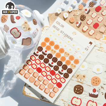 Mr.paper 6 Designs 3Pcs/lot Cute Bear Daily Deco Washi Diary Stickers Scrapbooking Planner Bullet Journal Doodling Stationery mr paper 4 designs 100pcs lot animal daily deco washi diary stickers scrapbooking planner bullet journal doodling stationery