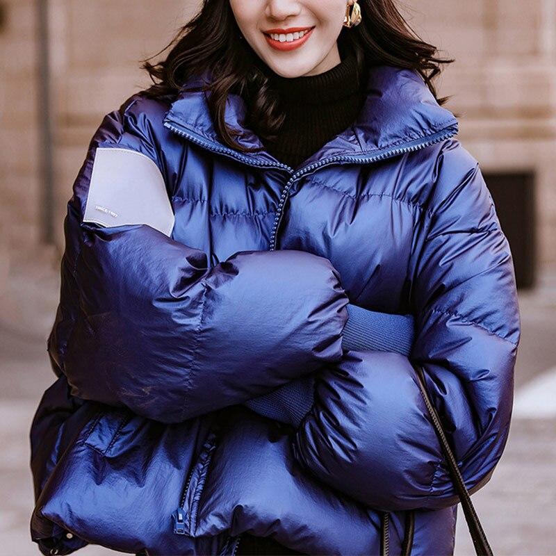 Winter   Parka   Women's Short Jacket Padded Down Loose Jackets   Parkas   Female Windproof Warm 2019 Fashion Woman Bright Coat